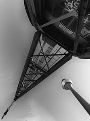 Crane & Rheinturm (frankdorgathen) Tags: alpha6000 sony1018mm monochrome blackandwhite schwarzweiss schwarzweis harbor harbour hafen düsseldorf wideangle weitwinkel perspektive perspective rheinturm krahn crane