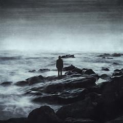 nowhere ocean II (Dyrk.Wyst) Tags: 2012 canaryislands insel kanarischeinseln lapalma longexposure rocks stones surf water waves solitude darkness conceptual end horizon contemplation behance puertonaos spanien