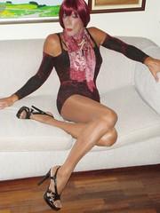 Karen (Karen Maris) Tags: tg tgirl tgurl karen legs transsexual transvestite transgender pantyhose heels sandals tights sheer redhead tranny crossdress crossdresser