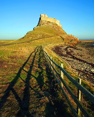 Follow the fence to the castle (WISEBUYS21) Tags: green castle grass fence island bright border bluesky line holy leading lindisfarne shadow sea cliff coast post top hill northumberland national trust fortress northeastofengland wisebuys21 two religious worship place wildlife perspective distance vikings viking tidal distant thirds bede stcuthbert causway uk wild portrait water birds dark landscape victorian northumbria faves favourite ages