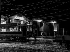 Back at the Sheds - Just Waiting #5 (gavsidey) Tags: derbyshire trams tramway museum starlite event night photography black white ngc d500 crich