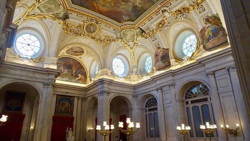 Ornate Interior of Main Entrance Foyer, Palacio Real de Madrid (Royal Palace), Madrid, Spain