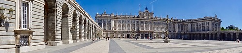 HD Panorama, Palacio Real de Madrid (Largest Functioning Royal Palace in Europe) and Plaza de la Armeria, Madrid, Spain