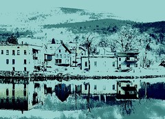 Winter Blues (Professor Bop) Tags: blue winter snow cold ice buildings reflections river town structures shelburnefallsmassachusetts drjazz olympuse510 professorbop mountain hills