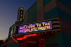 Ritz Theatre (davidwilliamreed) Tags: old restored ritz theatre toccoaga stephenscounty marquee sign neon colorful twilight dusk bluehour nightshot afterdark availablelight historic