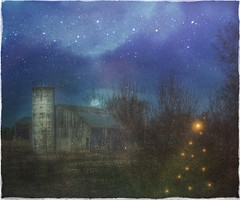 """All is bright...."" (Sherrianne100) Tags: countrychristmas rural christmastree christmas night barn ozarks missouri"