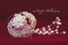ode part three (rockinmonique) Tags: ornament lace gladd macro white red bokeh christmas moniquewphotography canon canont6s tamron tamron45mm copyright2019moniquewphotography