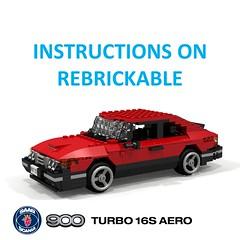 SAAB 900 Turbo 16S Aero - Instructions (lego911) Tags: saab 900 turbo 16s aero coupe hatchback liftback 1980s 1987 classic sweden swedish auto car moc model miniland lego lego911 ldd render cad povray instructions rebrickable afol foitsop