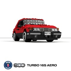 SAAB 900 Turbo 16S Aero - Instructions (lego911) Tags: saab 900 turbo 16s aero coupe hatchback liftback 1980s 1987 classic sweden swedish auto car moc model miniland lego lego911 ldd render cad povray instructions rebrickable afol