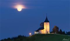 Full Moon Jamnik (AdelheidS Photography) Tags: adelheidsphotography adelheidsmitt adelheidspictures slovenia jamnik church fullmoon bluehour churchofstprimozandfelician stprimoz kranj famousphotospot