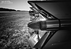 Fields of Fins (Hi-Fi Fotos) Tags: 59 cadillac tail fin midcentury atomic aerospace design luxury chrome mono bw blackandwhite nikon d7200 dx hififotos hallewell spaceage
