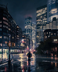 Silence (onefivefour) Tags: new newyork nyc manhattan night dark rain reflections cold winter