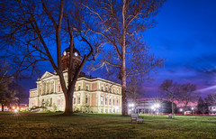 December Skies (4) (tquist24) Tags: goshen goshencourthouse hdr indiana nikon nikond5300 outdoor architecture bench bluehour city clouds courthouse downtown evening geotagged grass lawn lights longexposure outside sky starburst tree trees