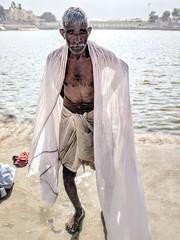 India series (Nick Kenrick.) Tags: oldman pilgrim hindu india holy bathing