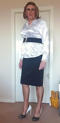"""Always after some advise, does this belt do anything for me?, when best to tuck your blouse in?, do I need to loose some weight?, at 6' 4"""" in heels should I be taller than my partner? (ursulaballing) Tags: cd tv tranny transvestite sissy crossdresser crossdressing shortskirt cfm heels highheels stilettos stockings ffn nylons makeup liptick satin satinblouse secretarial secretary pencilskirt pearls pearlnecklace"""