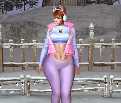 The weather outside is nipply... (SL : FatNnerdy ♥Will Model 4 Hugs♥) Tags: cold weather nipply cameltoe sweater redhead ginger leggings rosey cheeks thicc pawg reindeer evie legacy tinseltown christmas village snow ice