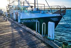 Northern Star (John Hewitt 7) Tags: luminosity7 nikond850 phillipisland sanremo victoria australia pier fishingboat trawler sunsetshot sunflares greenboat