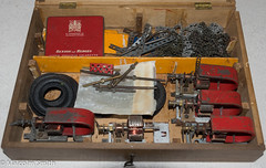 Trix Motors & Parts (M C Smith) Tags: trix pentax k3 constructionaltoy box wooden parts metal alloy rubber tyres black white red tin yellow cardboard chain dividers bag bronze hinges grey tools strips spanners nuts bolts