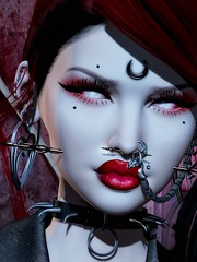The Reflecting God (marduklust resident) Tags: sl avatar second life dae fangs marduklust iconic mila cerberusxing cerberus xing cx opps opss su sucidal unborn access lip lips cream red stain conviction swallow