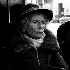 (steveannovazzi) Tags: stranger portrait bw bn people public transport tram milan milano italy italia old woman square ritratto donna anziana