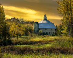 Fall Glow (henryhintermeister) Tags: barns minnesota oldbarns clouds farming countryliving country sunsets storms sunrises pastures nostalgia skies outdoors seasons fields hay silos dairybarns building architecture outdoor winter serene grass landscape plants cloudsstormssuns isantimn