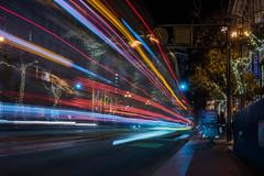 muni at bloomies (pbo31) Tags: sanfrancisco california city nikon d810 color night holidays season christmas december 2019 boury pbo31 marketstreet infinity muni bus black lightstream motion traffic roadway red blur
