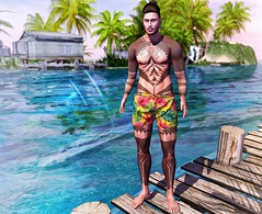 Tropical View... (ThiegoFire) Tags: letistattoo kuni signature mesh head bento man men male malamanhadosl boy blog beach colorful design art water lights tribal secondlife style sl sea sexy sky secondlifepic