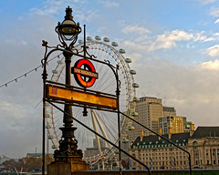 Underground (Croydon Clicker) Tags: london westminster ungerground sign lamp londoneye building sky cloud nikond700 nikkoraf28105mmd