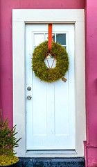 Wreath on the Door (Karen_Chappell) Tags: wreath door white green red heart pink house store shop building wood wooden paint painted trim architecture city urban holiday xmas noel christmas product stjohns downtown ribbon window newfoundland nfld canada eastcoast atlanticcanada avalonpeninsula colour colours color colors colourful greenery canonef24105mmf4lisusm