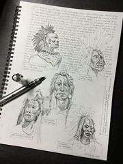 A sketch study page - Booth Western Museum Cartersville, GA (schunky_monkey) Tags: illustration drawing draw journal sketching fountainpen penandink ink pen study sketch art sculpture nativeamerican boothmuseum