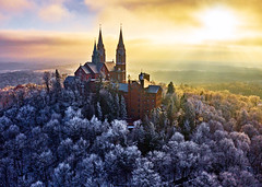 Holy Hill (Daniel000000) Tags: holy hill shrine mary church steeples cathedral towers trees forest frost winter cold sun light sunset fog foggy dji mavic 2 pro drone new old architecture explore travel wisconsin milwaukee national home design outside sky white tree nature art clouds snow midwest yellow christmas december
