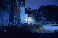 (patrickjoust) Tags: fujica gw690 fujichrome t64 6x9 medium format 120 rangefinder 90mm f35 fujinon lens fuji chrome slide e6 color reversal expired discontinued tungsten balanced film cable release tripod long exposure night blue after dark manual focus analog mechanical patrick joust patrickjoust west side baltimore maryland md usa us united states north america estados unidos urban street city rain rainy mural abandoned vacant empty row house home