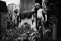 PL1-010-3A (David Swift Photography) Tags: davidswiftphotography parisfrance perelachaisecemetery cemeteries graves tombs sculpture statues olympusstylusepic 35mm ilfordxp2