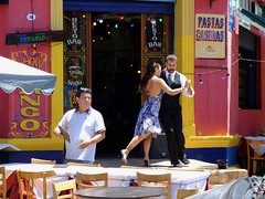 Lunch show (halifaxlight) Tags: argentina buenosaires laboca restobar dancers tango tables chairs umbrella signs sunny man street