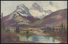 c. 1907 W.G. MacFarlane Troilene Postcard - View of the Three Sisters, Canadian Rockies, Alberta, Canada (Treasures from the Past) Tags: postcard vintage threesisters rockymountains alberta canada bigsister middlesister littlesister wgmacfarlane williamgodsoemacfarlane threenuns williamnotman