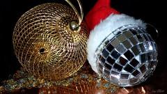 BAUBLES.......Smile on Saturday ! (Lani Elliott) Tags: macro baubles festive smileonsaturday shiny decorations stars glitter upclose closeup blackbackground light bright