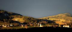 Beleuchtetes Joglland (Mariandl48) Tags: beleuchtetesjoglland stjakobimwalde sonnenuntergang landschaft kirche sommersgut wenigzell steiermark austria