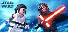 LEGO Star Wars : The Rise of Skywalker - Rey vs. Kylo Ren (MGF Customs/Reviews) Tags: lego star wars the rise skywalker rey kylo ren daisy ridley adam driver custom figure minifigure fan art painted painting diy