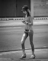 Messages or Music? (Beegee49) Tags: street people filipina blackandwhite sony monochrome a6000 bw bacolod city philippines asia happyplanet asiafavorites