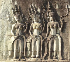 Apsara dancers in bas-relief carvings, Angkor World Heritage Site, Siem Reap, Cambodia (Judith B. Gandy (on and off, off and on)) Tags: angkorworldheritagesite apsaradancers siemreap wallcarvings basreliefs cambodia carvings khmer statues temples