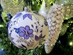 Belle of the Baubles (Bennilover) Tags: baubles christmasornaments christmas smileonsaturday handpainted beautiful ornament lavender silver gardens trees christmastrees flowers leaves