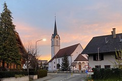 Church Kirche St. Germanus Abtwil Switzerland (roli_b) Tags: church kirche chapel st germanus abtwil ag aargau switzerland schweiz suisse suiza svizzera eglise travel viajar sunrise blue sky sonnenaufgang winter kreisel tourism