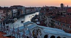 Grand Canal at Sunset (UrbanphotoZ) Tags: venice venezia italy grandcanal sunset rooftop fondacodeitedeschi rialtobridge gondola vaporetto
