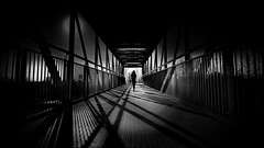 magic bridge (heinzkren) Tags: schwarzweis blackandwhit biancoetnero noiretblanc monochrome canon canonr eos eosr bridge brücke übergang woman silhouette railing geländer phantasy dream composing street way path light shadows construction art photoart frau people human mystery magic mood