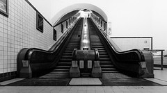 Wooden escalator (koen_jacobs) Tags: antwerp belgium streetphotography blackandwhite