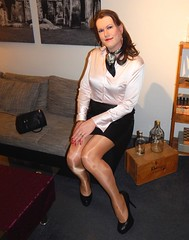 Happy (Rikky_Satin) Tags: silk satin blouse leather skirt shiny pantyhose crossdresser crossdressing transvestite tgirl tgurl gurl sissy secretary feminization m2f mtf
