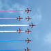 LOOKING DIRECTLY UP AT THE RED ARROWS' PHOENIX FORMATION
