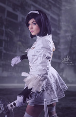 Eva Sfyroera as 2B/2P from Soul Calibur-Nier Automata, by SpirosK photo. (SpirosK photography) Tags: evasfyroera 2b 2p nierautomata soulcalibur spiroskphotography studio photoshoot cosplay costumeplay composite robot android game videogame videogamecharacter portrait
