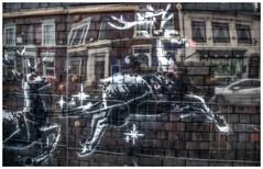 'Banksy' in Birmingham - Christmas Cheer ! (photofitzp) Tags: banksy birmingham streetart jewelleryquarter railway christmas reindeer rednose spraycan perspex