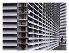 Shuttered facade (The taming of the shrew 7) (AurelioZen) Tags: europe nethelands utrecht brainpark shutters person samyang8514 hogeschoolutrecht